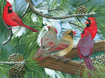 Cardinals at the Feeder Puzzle (Easy Handling 275 Piece Puzzle)