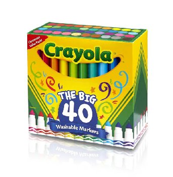 Crayola Ultra-Clean Washable Broad Line Markers 40 count