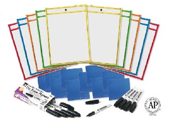 Dry Erase Pocket Class Pack (10 pockets, 10 cloths, 10 markers)