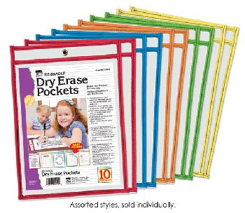 Dry Erase Pockets - Reusable, Easy Loading - single pocket (assorted color)