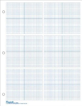 "Graph Paper, 6 Grid 1/8"" Squares (100 sheet pack)"