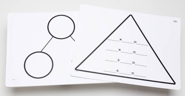 Write-On/Wipe-Off Fact Family Triangle Mat: Multiplication