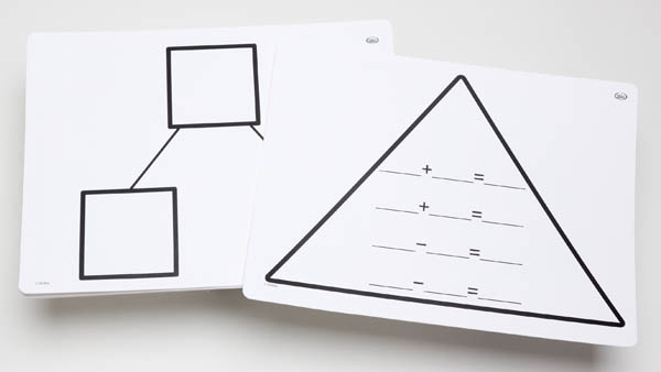 Write-On/Wipe-Off Fact Family Triangle Mats: Addition