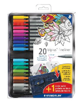 Staedtler Triplus Fineliner Colored Marker Pens - 20 in Denim Wallet Storage Pouch