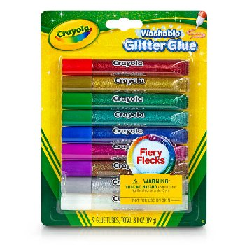 Crayola Washable Glitter Glue - Fiery Flecks - 9 count