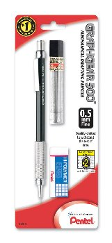 GraphGear 500 Mechanical Pencil - Black Barrel (0.5mm) with Lead & Small Eraser