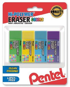Hi-Polymer Block Eraser Colors, Small, 4 pack