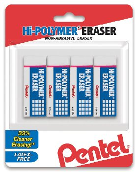 Hi-Polymer Block Eraser, Small White, 4 pack