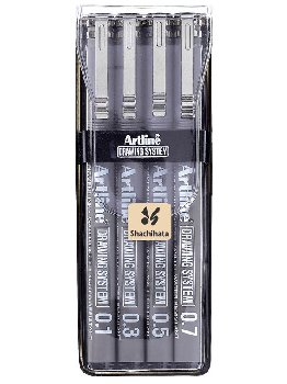Drawing System Pens, Black - 4 pack (0.1,0.3,0.5,0.7mm)