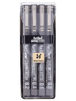 Drawing System Pens, Black - 4 pack (0.2,0.4,0.6,0.8mm)