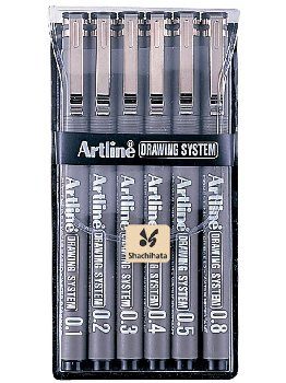 Drawing System Pens, Black - 6 pack (0.1,0.2,0.3,0.4,0.5,0.6,0.7,0.8mm)