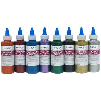 Washable Glitter Glue Primary Colors Set of 8 (4 oz.)