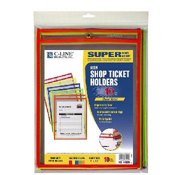 Reusable Dry Erase Pocket 9x12 Neon 10 pack 5 colors (includes blue)