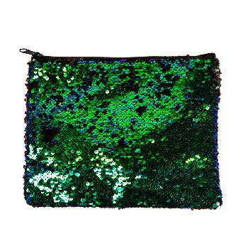 Mermaid / Black Magic Sequin Zip Pouch