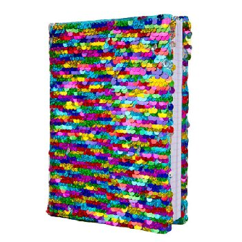 Rainbow / Silver Magic Sequin Journal