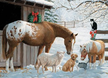 Winter Barnyard Family Jigsaw Puzzle (350 piece)