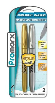 Permanent Markers 2-count Metallic Gold & Silver Ink