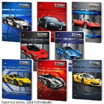 Street Racers Wide Ruled Theme Book Assorted From Zero to Organized Design