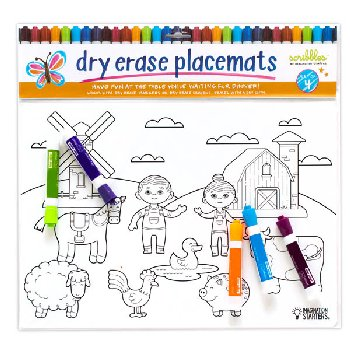 Dry Erase Placemats Mixed Print, Set of 4