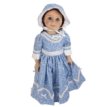 "Blue Sunday Dress with Bonnet for 18"" Doll (Little House Dolls & accessories)"