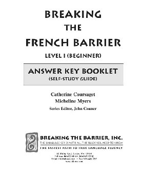Breaking the French Barrier - Level 1 (Beginning) Answer Key