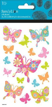 Colorful Butterflies - Clear With Glitter Stickers