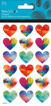 Faceted Hearts Stickers (Prismatic)