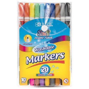 2 in 1 Double-Sided Washable Markers (set of 10)