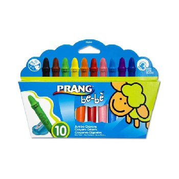 Prang be-be Jumbo Crayons - Set of 10 with sharpener