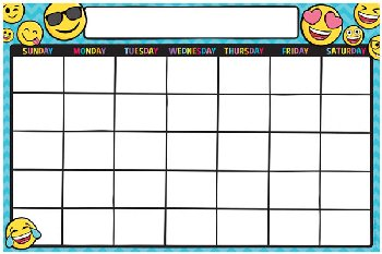 Write & Wipe Magnetic Calendar - Emoji