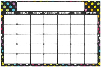 Write & Wipe Magnetic Calendar - Neon Chalk