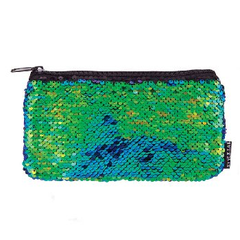Mermaid Iridescent / Black Magic Sequin Mini Pencil Pouch