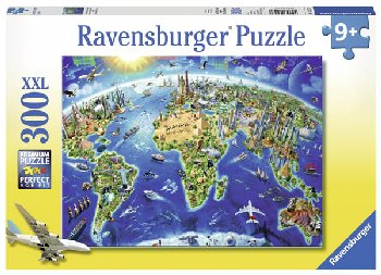 World Landmarks Map Puzzle (300 pieces)