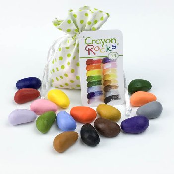 Crayon Rocks - 16 Colors in Green Polka Dot Bag