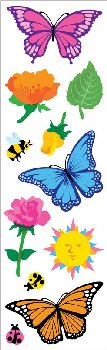 Butterflies & Flowers Stickers - 1 package (3 sheets)