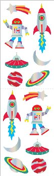 Retro Holographic Space Stickers (2 sheets)