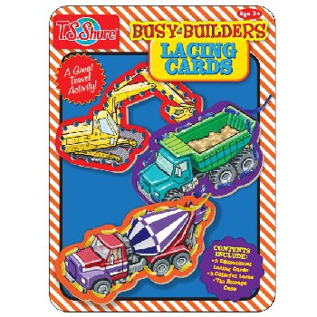 Busy Builders Lacing Cards Tin