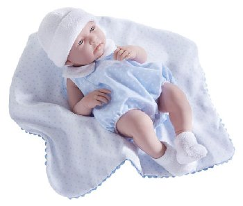 "La Newborn Realistic 17"" Vinyl Doll in Blue Bubble Suit Outfit and Blanket - Boy"