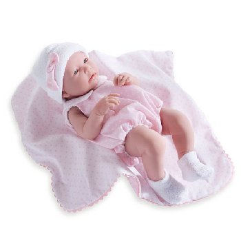 "La Newborn Realistic 17"" Vinyl Doll in Pink Bubble Suit Outfit and Blanket - Girl"