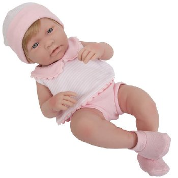 "La Newborn Realistic 17"" Vinyl Doll with Blonde Hair in Pink Outfit - Girl"