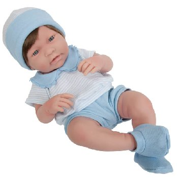 "La Newborn Realistic 17"" Vinyl Doll with Brown Hair in Blue Outfit - Boy"