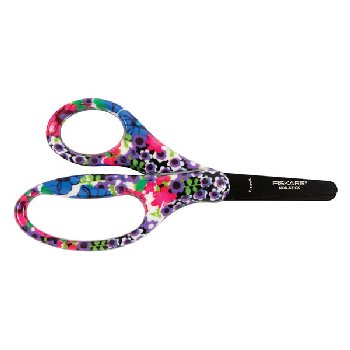 "Fiskars Designer Non-Stick Blunt-Tip 5"" Kids Scissors Blue Blooms"