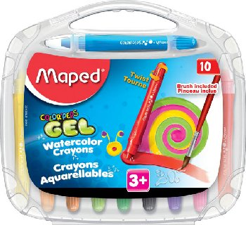 Color'Peps Watercolor Gel Crayons with Brush (pack of 10)
