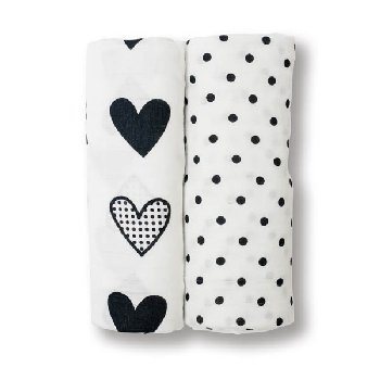 Dots & Hearts Swaddling Blankets (2 pack)
