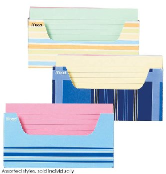 Mead Ruled Color Index Cards with Tray 150 count (assorted designs)