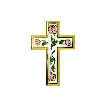Cross with Flowers Pin