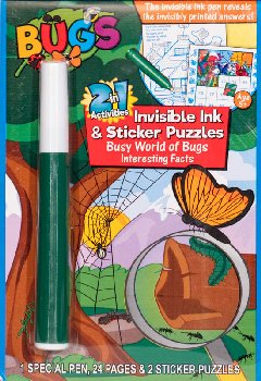 Bugs: Invisible Ink & Sticker Puzzle Book