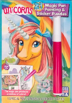 Unicorns 2 in 1:Magic Pen Pntg/Stckr Pzzl Bk