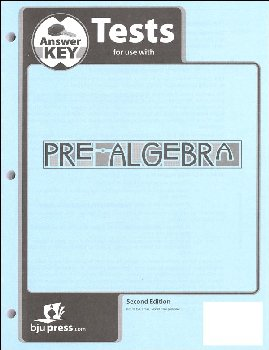 Pre-Algebra Tests Answer Key 2nd Edition