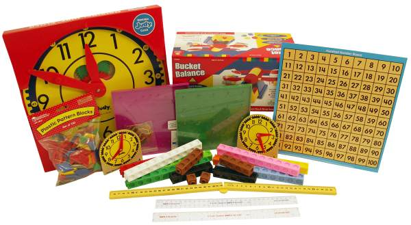 Manipulative Kit 1 (Basic Plastic Pattern Blocks, Judy Clock, Optional Items)